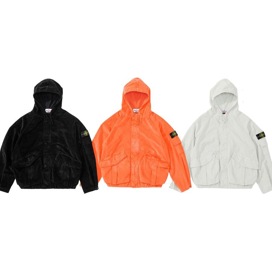 Supreme®/Stone Island® Corduroy Jacket - Water repellent cotton corduroy 500 treated with resins and garment dyed with Stone Island® recipes to achieve a frosted appearance. Full zip closure with hidden snap placket. Snap flap patch pockets at lower front with dual top and side entry. Snap f...