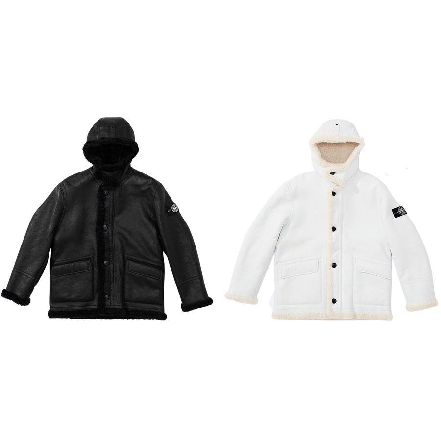 Supreme®/Stone Island® Hand-Painted Hooded Shearling Jacket - Sheared napa sheepskin with hand-painted and polished finish. Full zip and button front closure with welt flap hand pockets at lower front and interior pocket with button closure. Fixed hood with button closure and snap adjuster at top. Removable Ston...