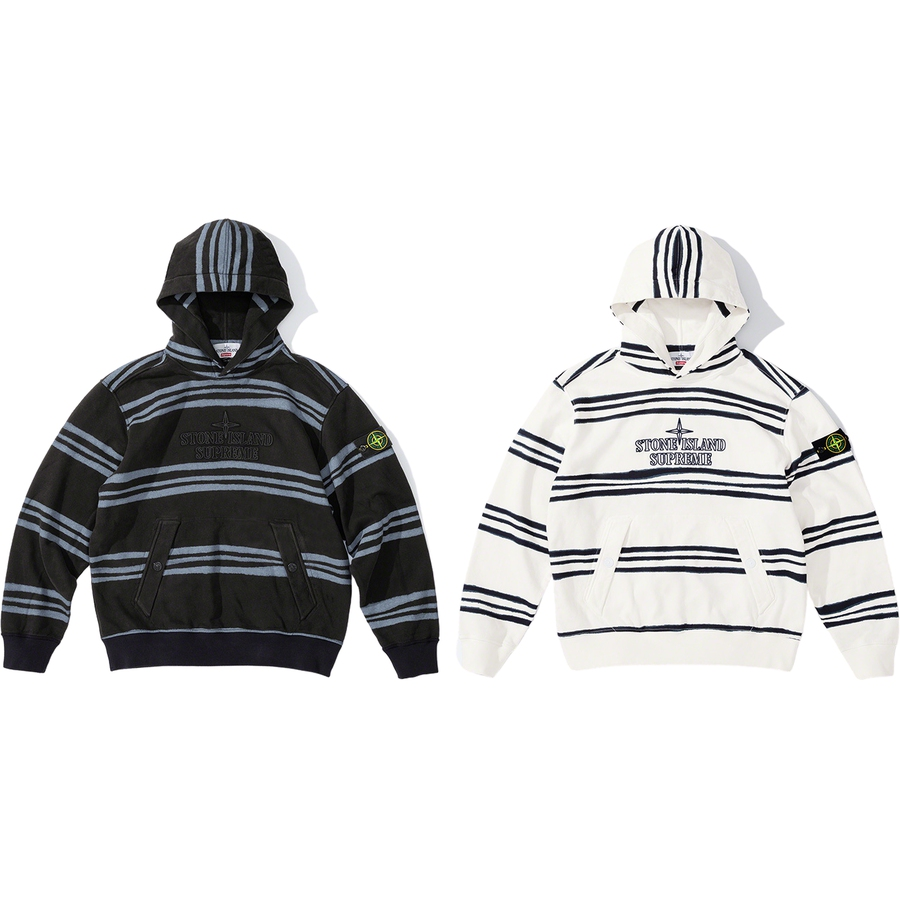 Supreme®/Stone Island® Warp Stripe Hooded Sweatshirt - Cotton fleece pigment printed with Stone Island® archive irregular striped motif and washed to blur. Snap pouch pocket, removable Stone Island® badge at sleeve and embroidered logos at chest. Made exclusively for Supreme.