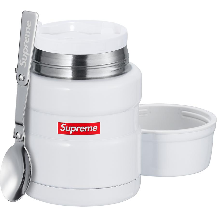 Supreme®/Thermos® Stainless King Food Jar + Spoon - Double wall stainless steel Thermos® food jar with folding stainless steel spoon. Keeps contents hot for up to 9 hours or cold for up to 14 hours. 16 oz.