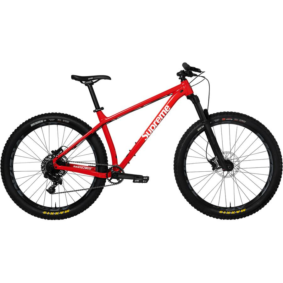 "Supreme®/Santa Cruz™ Chameleon 27.5"" Bike - Aluminum hardtail mountain bike with 27.5"" wheels. Race Face Aeffect 30T crankset with SRAM Level brakes. Race Face Chester pedals included. 28.21 lbs."