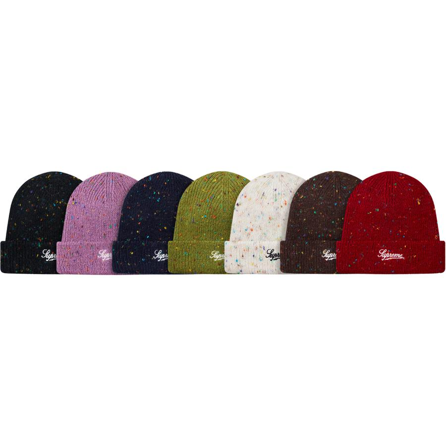 Colored Speckle Beanie - Acrylic blend loose gauge cuffed beanie with embroidered logo on cuff.