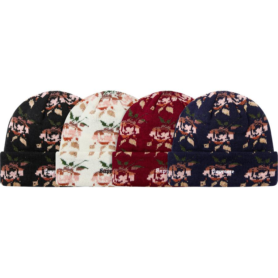 Rose Jacquard Beanie - Acrylic blend cuffed beanie with embroidered logo on cuff.