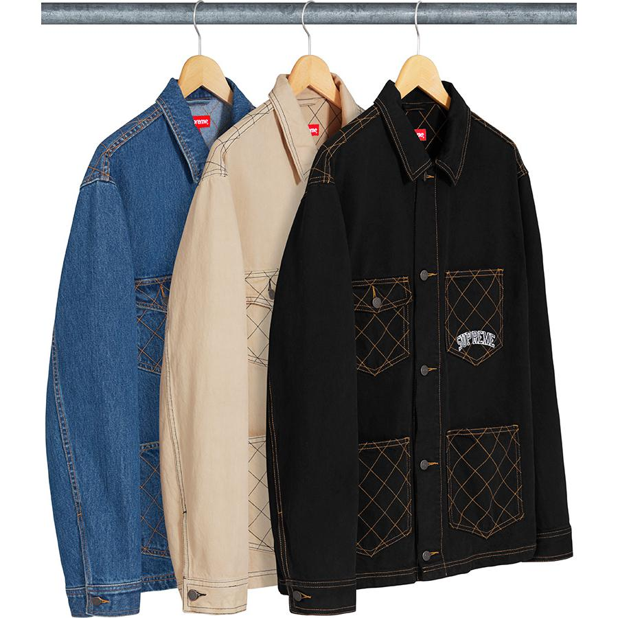 Diamond Stitch Denim Chore Coat - All cotton 14 oz. overdyed denim with button front closure. Diamond quilted patch pockets at chest and lower front with quilted back yoke. Embroidered logo on chest pocket.