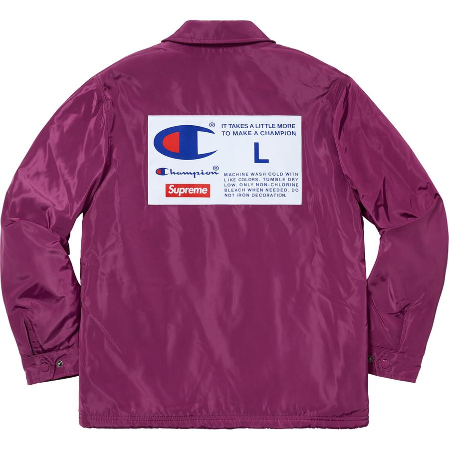 Supreme®/Champion® Label Coaches Jacket - Water resistant poly with pile lining and snap front closure. Hand pockets at lower front, interior chest pocket and drawcord at hem. Woven patch on back. Made exclusively for Supreme.