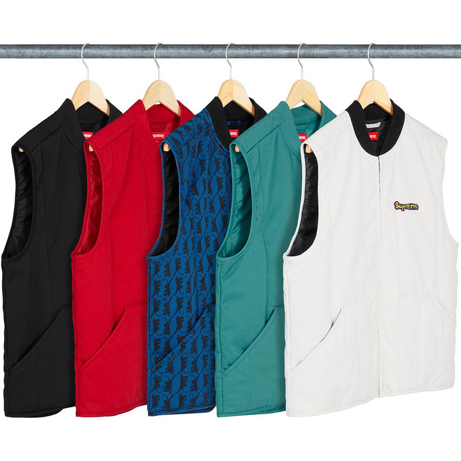Gonz Shop Vest - Quilted cotton blend with fill and taffeta lining. Full zip closure with patch pockets at lower front, knit rib collar and embroidered logo on chest.