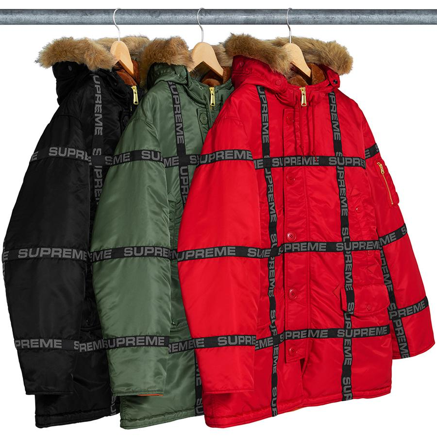 Logo Tape N-3B Parka - Military spec flight satin nylon with quilted nylon lining. Full zip closure with button placket and removable faux fur trim on hood. Snap hand pockets at lower front and chest with interior chest pocket and utility pocket at sleeve. Drawcord at hood ...