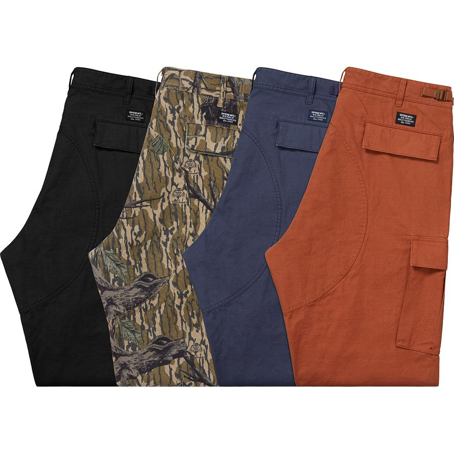 Cargo Pant - All cotton with enzyme wash. Slanted front pockets, welt pockets at back and button flap patch pockets on thigh. Button fly closure, twill tape size adjusters at waist and drawstring at cuffs.