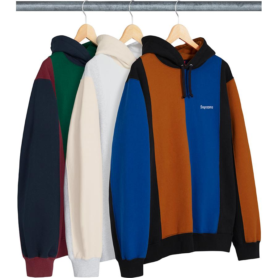 Tricolor Hooded Sweatshirt - Cotton fleece with contrast chest, sleeve and hood panels. On seam hand pockets and embroidered logo on chest.