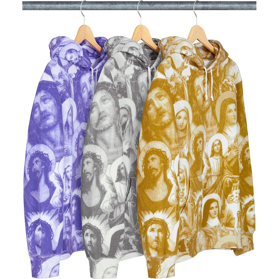 Jesus and Mary Hooded Sweatshirt - Cotton fleece with pouch pocket, printed pattern and printed logo on back.