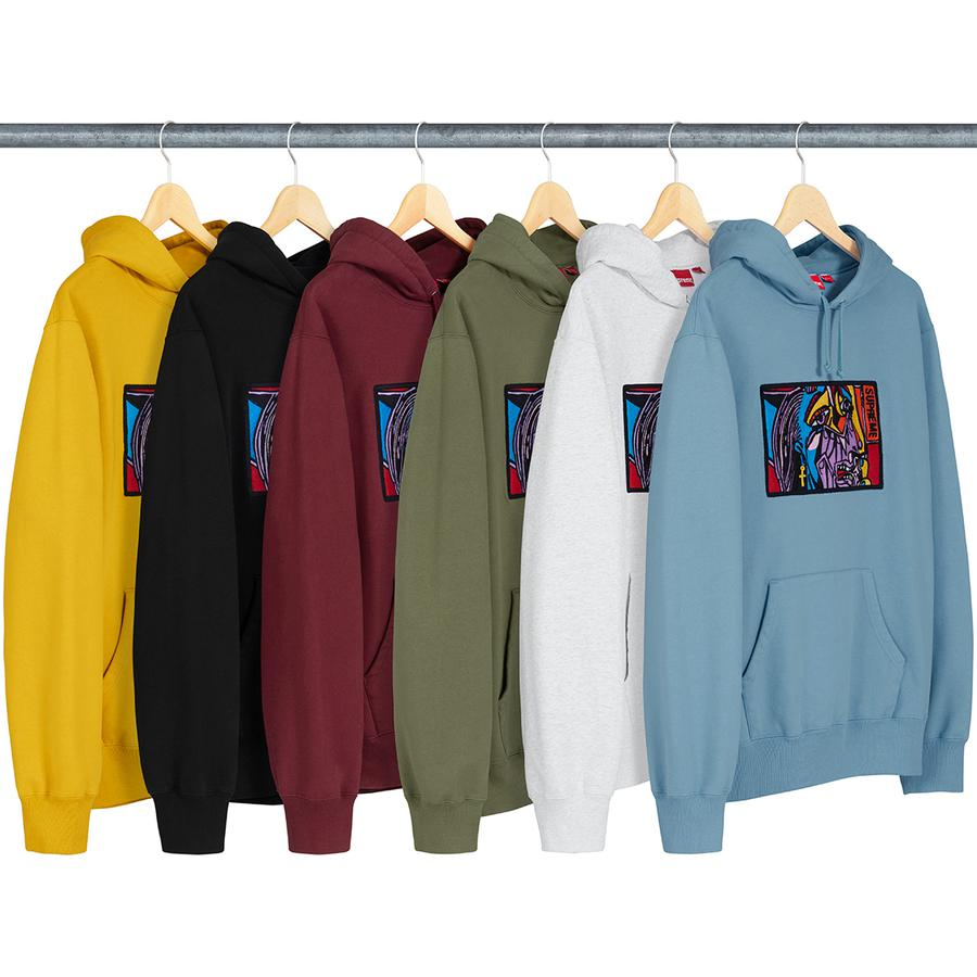 Chainstitch Hooded Sweatshirt - Cotton fleece with pouch pocket and chainstitch embroidered graphic on chest.