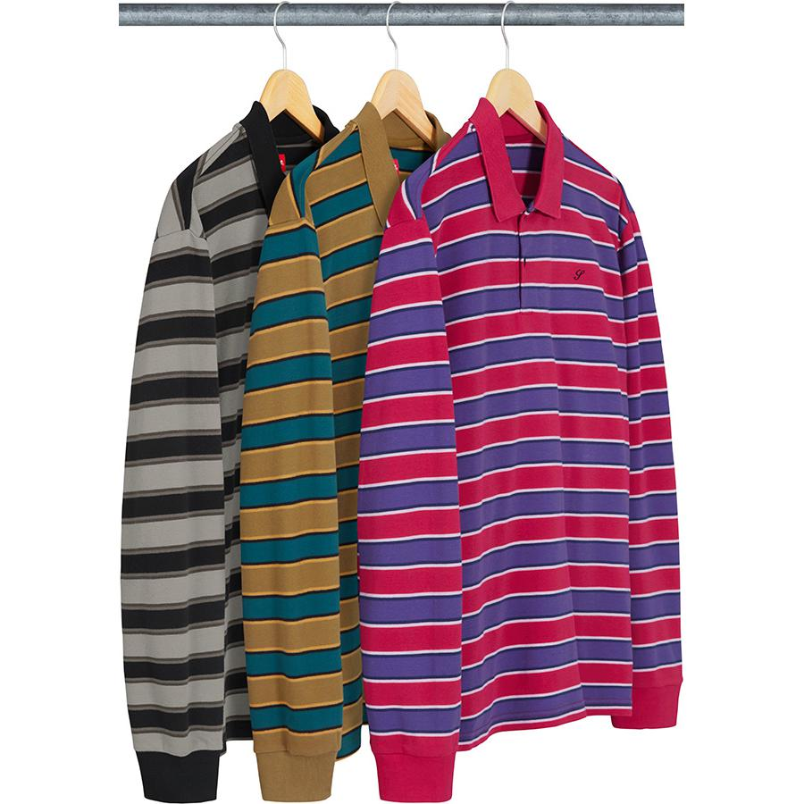 Striped L/S Polo - All cotton polo with rib collar, two-button placket and embroidered logo on chest.