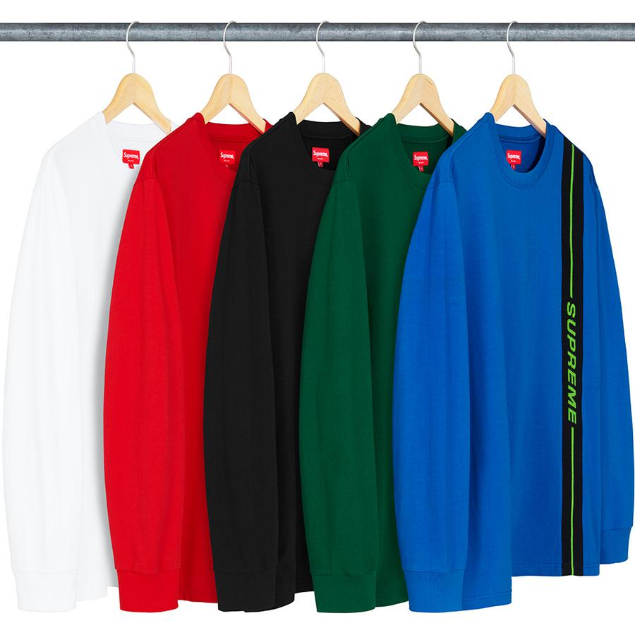 Vertical Logo Stripe L/S Top - All cotton heavyweight jersey crewneck with jacquard logo knit panel at front.