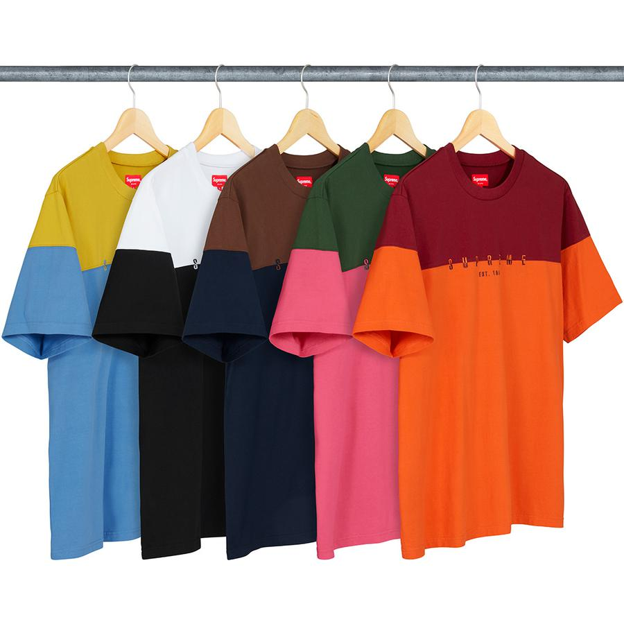 Split Logo S/S Top - All cotton jersey crewneck with contrast yoke and two-tone embroidered logo on chest.