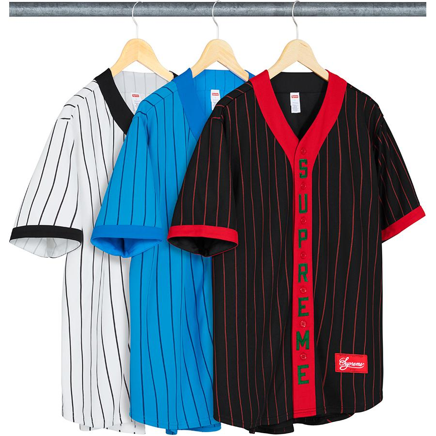 Vertical Logo Baseball Jersey - Poly sand knit V-neck with button front closure. Printed pinstripes, tackle twill appliqué logo on placket and athletic label at lower front.