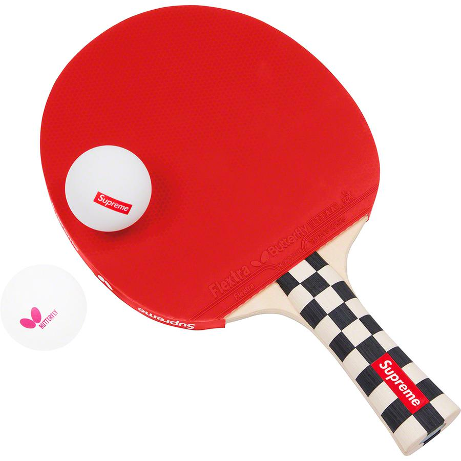 Supreme®/Butterfly Table Tennis Racket Set - Shakehand table tennis racket with FLEXTRA rubber and inlaid logo handle. 3-pack of Butterfly 40+ balls with printed logos,  racket case and ball case included. Sold as a set. Made exclusively for Supreme.