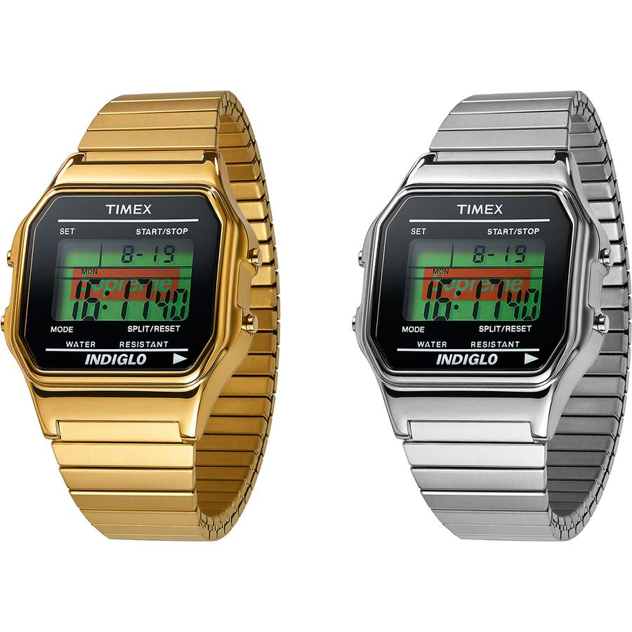 Supreme®/Timex® Digital Watch - Metal watch with printed logo digital screen and INDIGLO® light. Water resistant up to 99 ft. Made exclusively for Supreme.