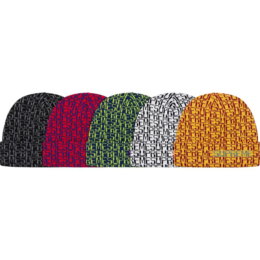 Digital Beanie - Acrylic cuffed beanie with jacquard logo pattern.