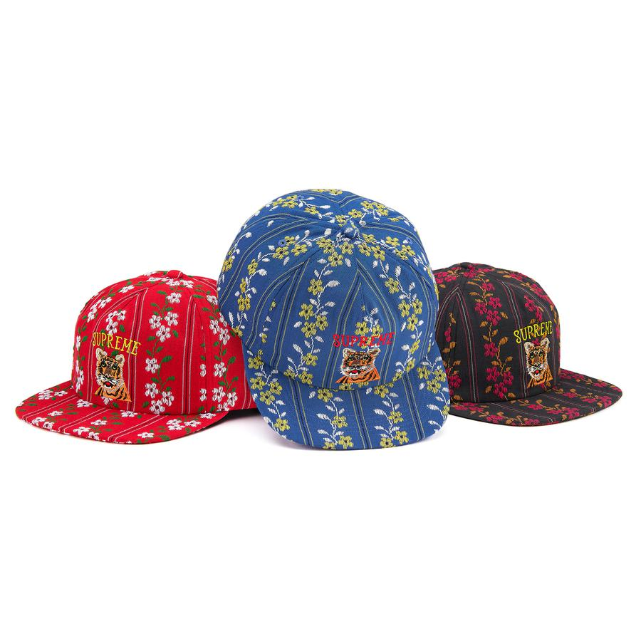 Flower Jacquard 5-Panel - All cotton 5-Panel hat with snap closure. Embroidered logo on front and back.