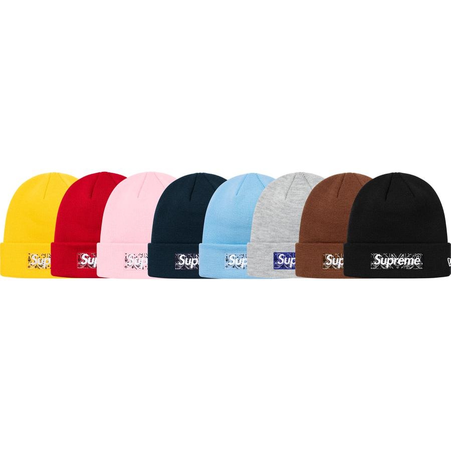 New Era® Box Logo Beanie - Acrylic cuffed beanie with embroideries on front, back and side of cuff.