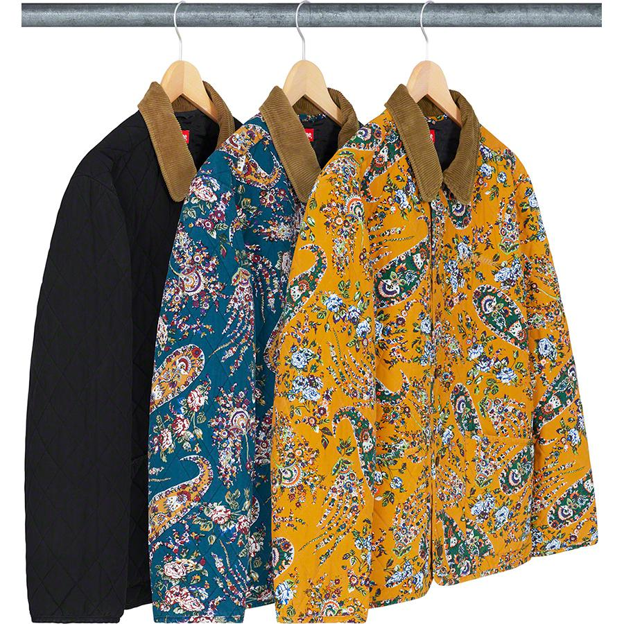 Quilted Paisley Jacket - Quilted cotton with fill and quilted taffeta lining. Button front closure with patch pockets at lower front. Embroidered logos on chest and back.