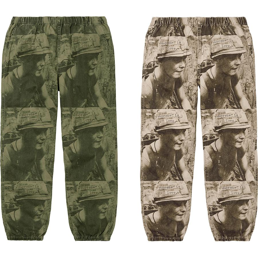 Supreme Is Love Skate Pant - All cotton twill with printed pattern. Slanted front pockets and back patch pocket with button closure. Elastic cuffs and waistband with interior drawcord.