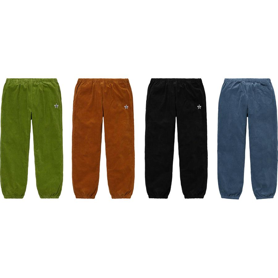 Corduroy Skate Pant - All cotton corduroy with slanted front pockets and back patch pocket with button closure. Elastic cuffs and waistband with interior drawcord. Embroidered logo on left thigh.