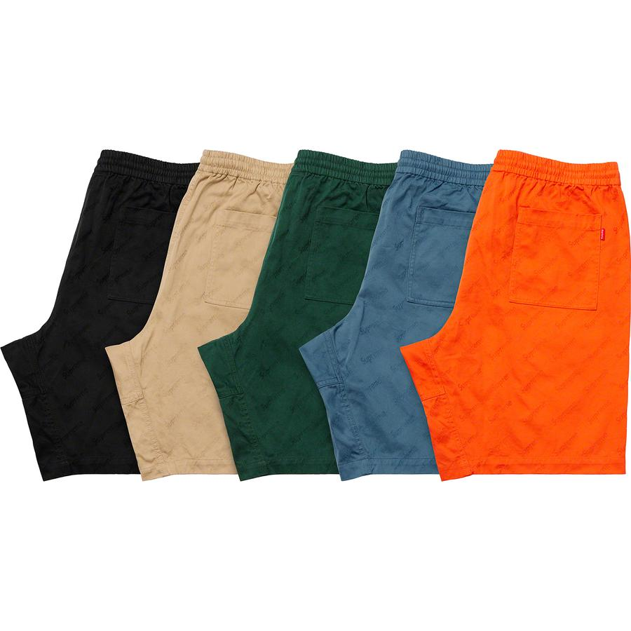 Jacquard Logos Twill Short - All cotton twill with jacquard logo pattern. On seam hand pockets and single back patch pocket. Elastic waistband with interior drawcord.