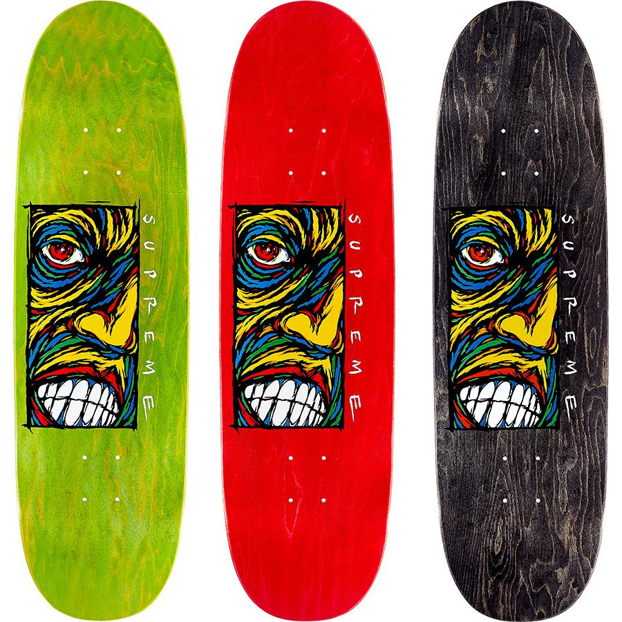 Disturbed Skateboard - Supreme skate deck with colored top and bottom plies and red center ply. Printed graphic on bottom with printed World Famous and box logo on top. Original artwork by Sean Cliver.