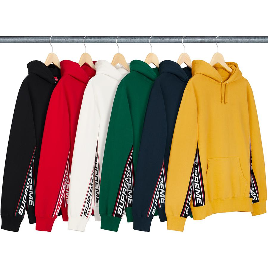 Text Rib Hooded Sweatshirt - Cotton fleece with pouch pocket and knit logo panels.