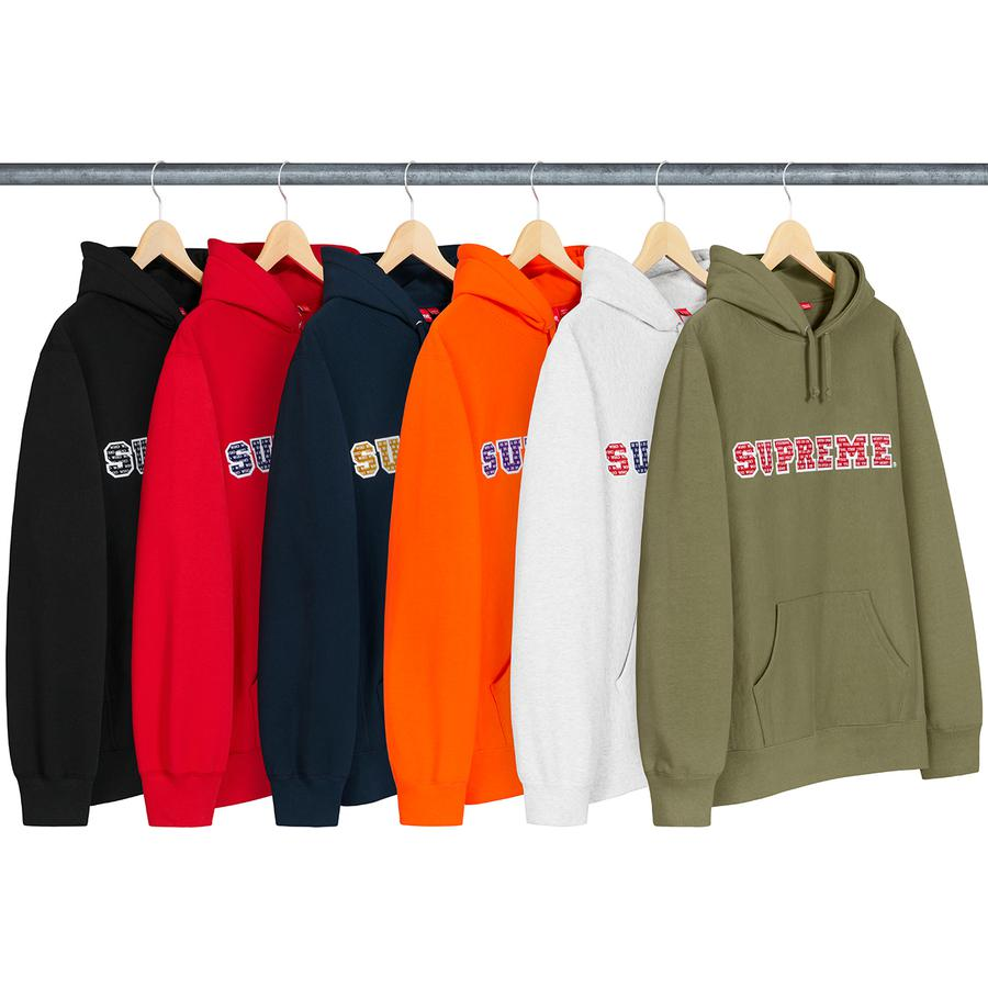 The Most Hooded Sweatshirt - Heavyweight cotton crossgrain fleece with rib gussets and pouch pocket. Two-layer tackle twill appliqué logo with printed graphic on chest.