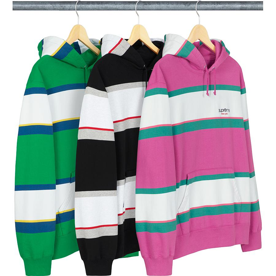 Stripe Hooded Sweatshirt - Cotton fleece with pouch pocket and embroidered logo on chest.