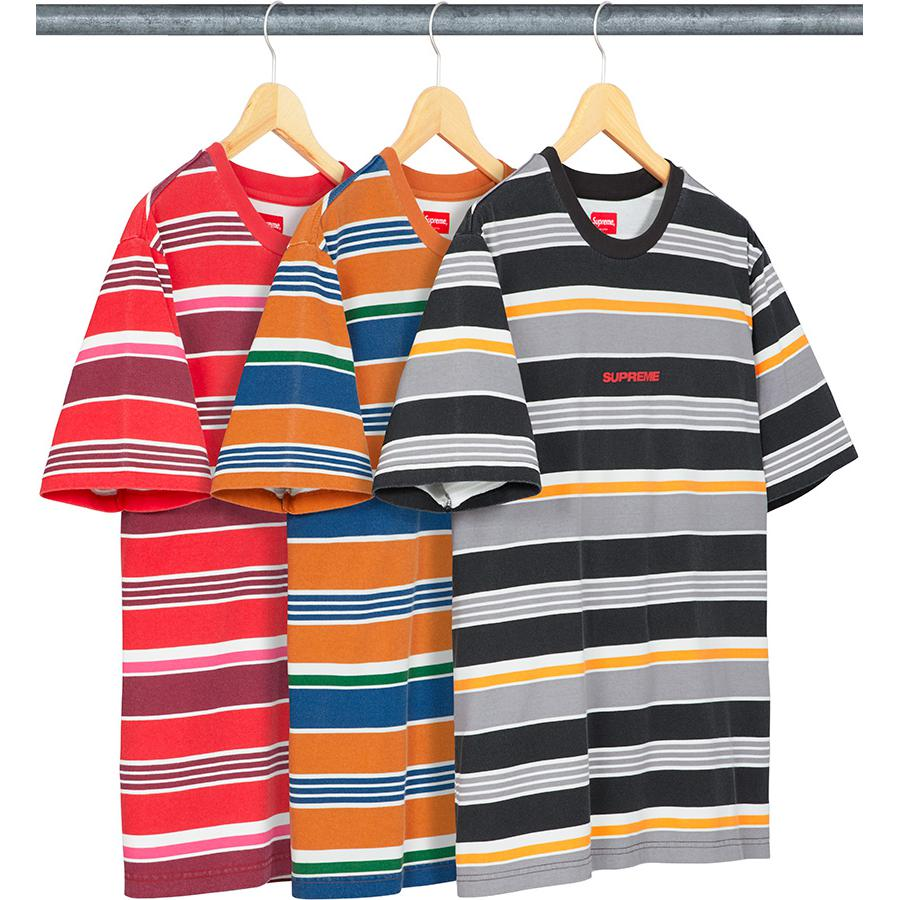 Stripe S/S Top - All cotton jersey crewneck with printed logo on chest.