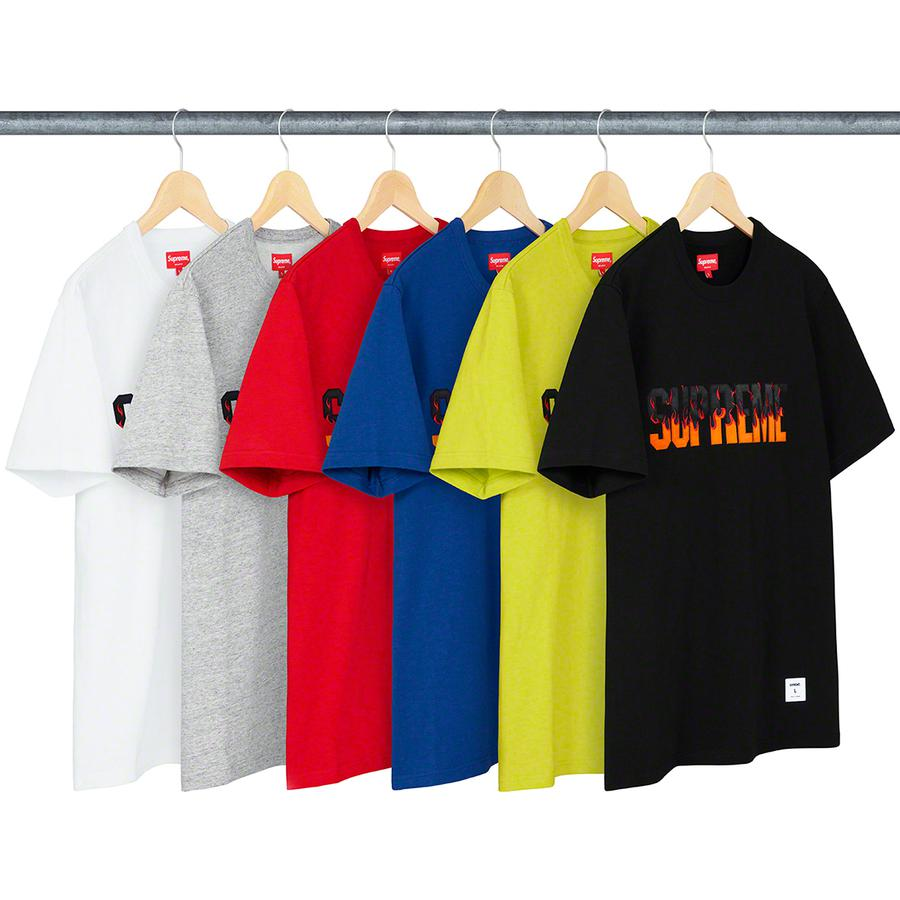 Flame S/S Top - All cotton slub jersey crewneck with tackle twill appliqué logo on chest. Athletic label at lower front.