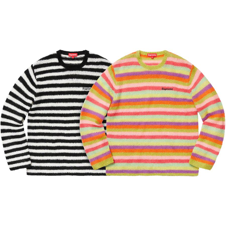 Stripe Mohair Sweater - Mohair blend with embroidered logo on chest.