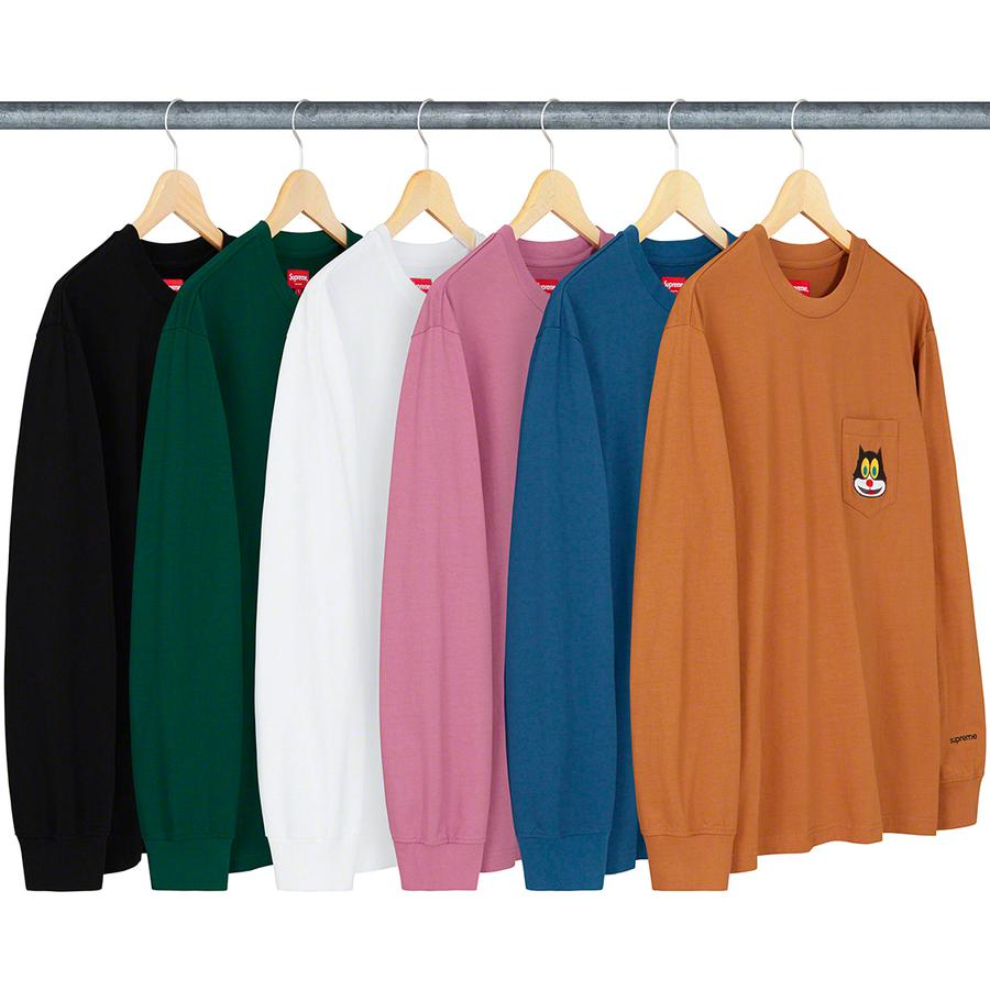 Cat L/S Pocket Tee - All cotton jersey crewneck with embroidered graphic on single chest pocket and embroidered logo on wrist.