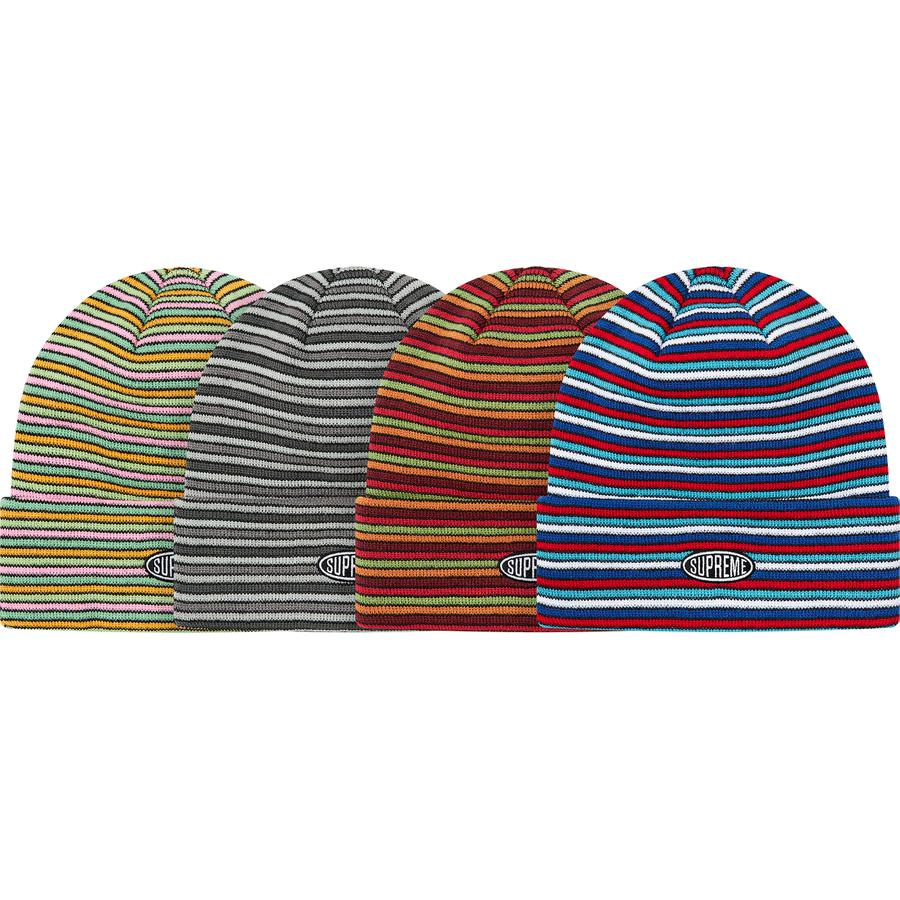 Multi Stripe Beanie - Acrylic cuffed beanie with embroidered logo on cuff.