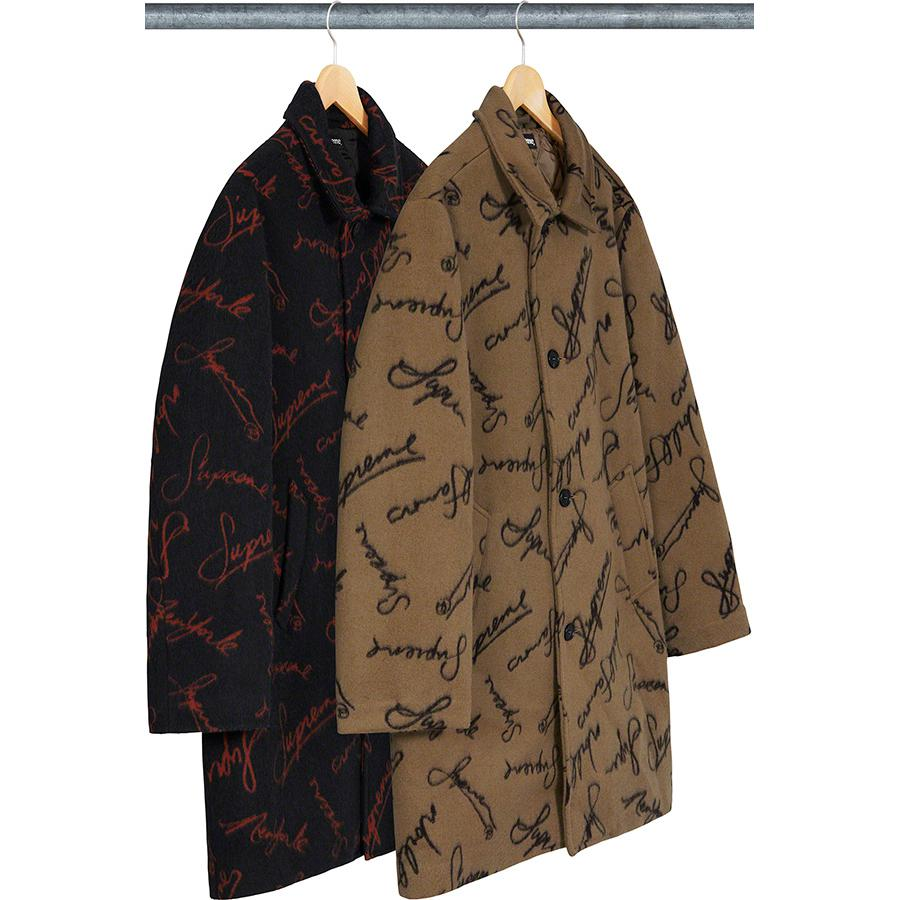 Script Logos Wool Overcoat - Wool blend with jacquard logo pattern and viscose blend quilted lining. Button front closure with welt hand pockets at lower front and interior chest pocket.