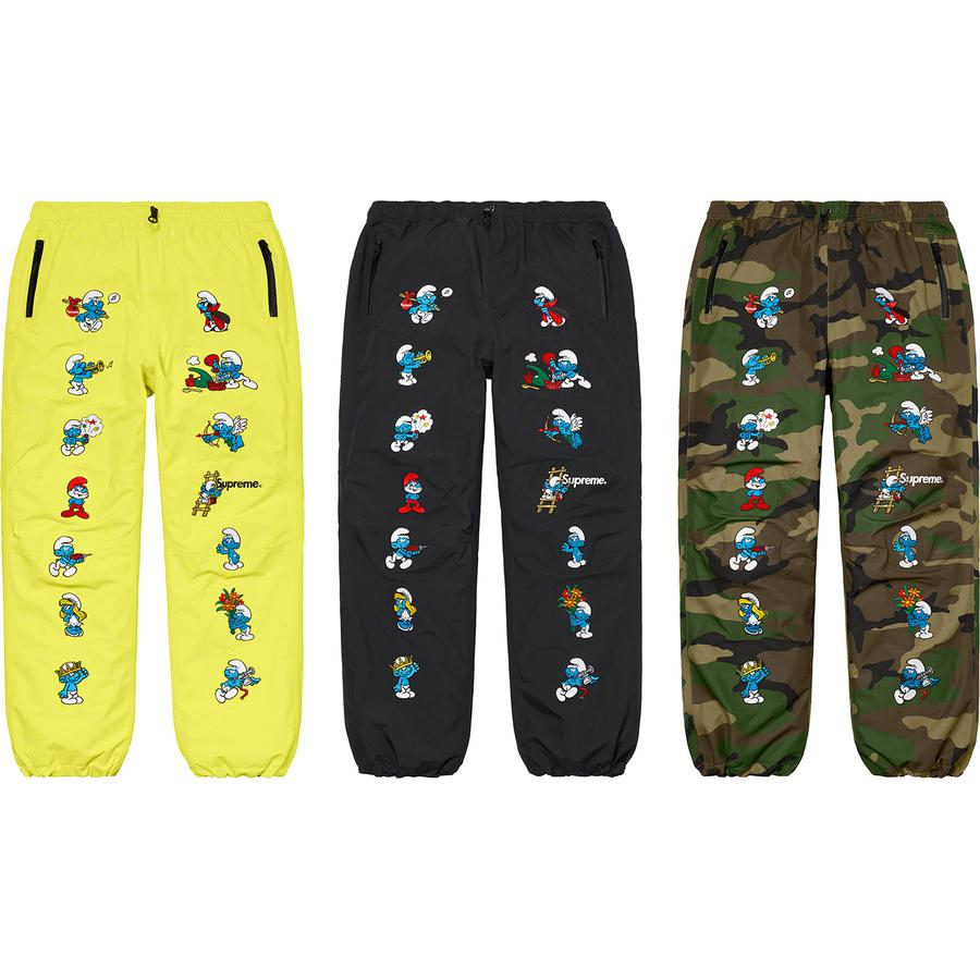 Supreme®/Smurfs™ GORE-TEX Pant - Waterproof, breathable GORE-TEX nylon 2-layer shell with taped seams and embossed logo lining. Zip hand pockets and single back zip pocket. Interior elastic shockcords at waistband and cuffs. Embroidered graphics at front with embroidered logos at fro...
