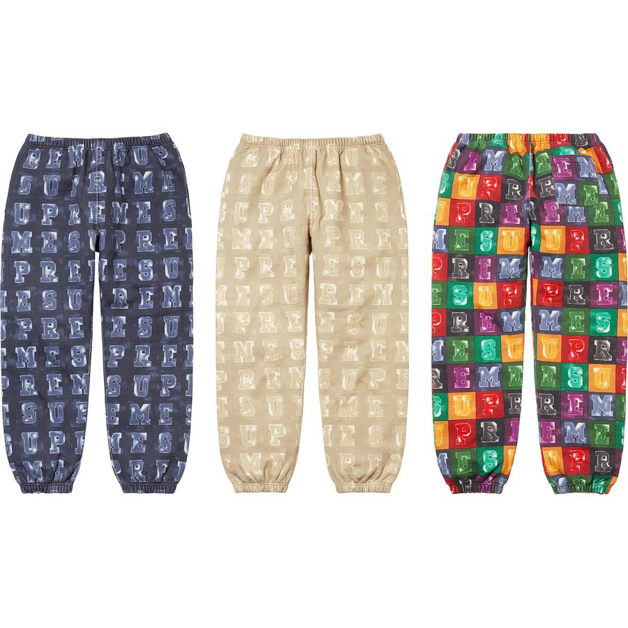 Blocks Sweatpant - Cotton fleece with printed logo pattern. On seam hand pockets with single back patch pocket. Elastic cuffs and waistband with interior drawcord.