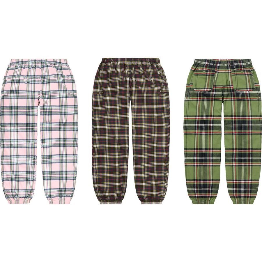 Tartan Flannel Skate Pant - All cotton flannel. Slanted front pockets, zip pockets at thighs and back patch pockets with button closure. Elastic cuffs and waistband with interior drawcord.