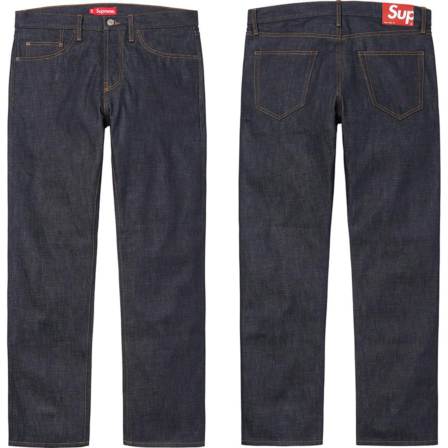Rigid Slim Jean - All cotton 14 oz. selvedge denim. Classic 5-pocket style with button fly, single coin pocket, copper rivets and leather logo patch on back.