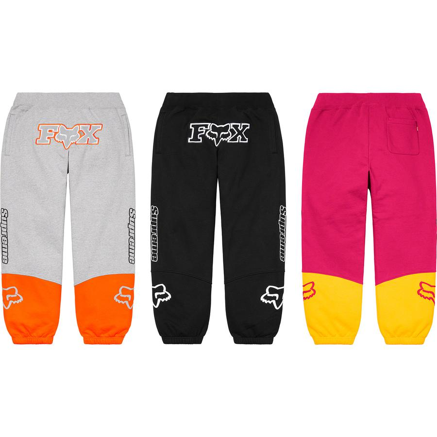 Supreme®/Fox® Racing Sweatpant - Cotton fleece with welt hand pockets. Elastic cuffs and knit rib waistband with interior drawcord. Tackle twill appliqué and embroidered logo at front with embroidered logos at sides. Raised silicone logo appliqué at lower legs.