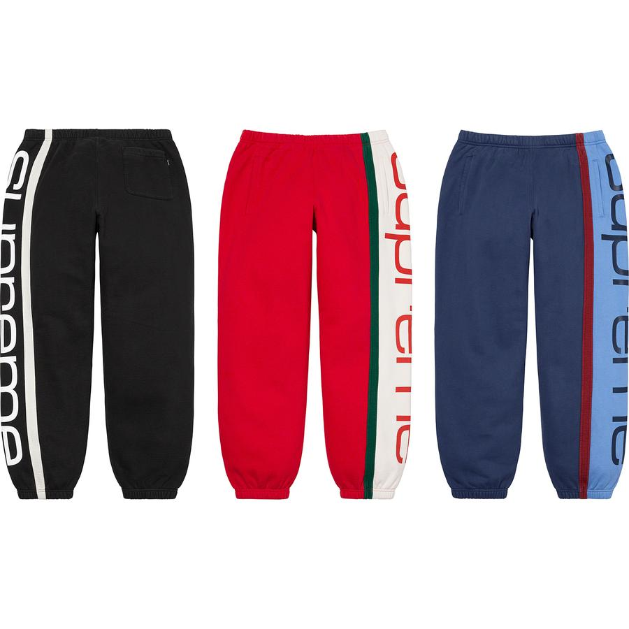 Big Logo Paneled Sweatpant - Cotton fleece with welt hand pockets and single back patch pocket. Elastic cuffs and waistband with interior drawcord. Printed logo panel at side.