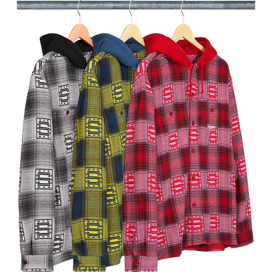 Hooded Shadow Plaid Shirt - All cotton with woven logo pattern and cotton fleece hood. Utility pockets at chest with embroidered logo on left pocket.