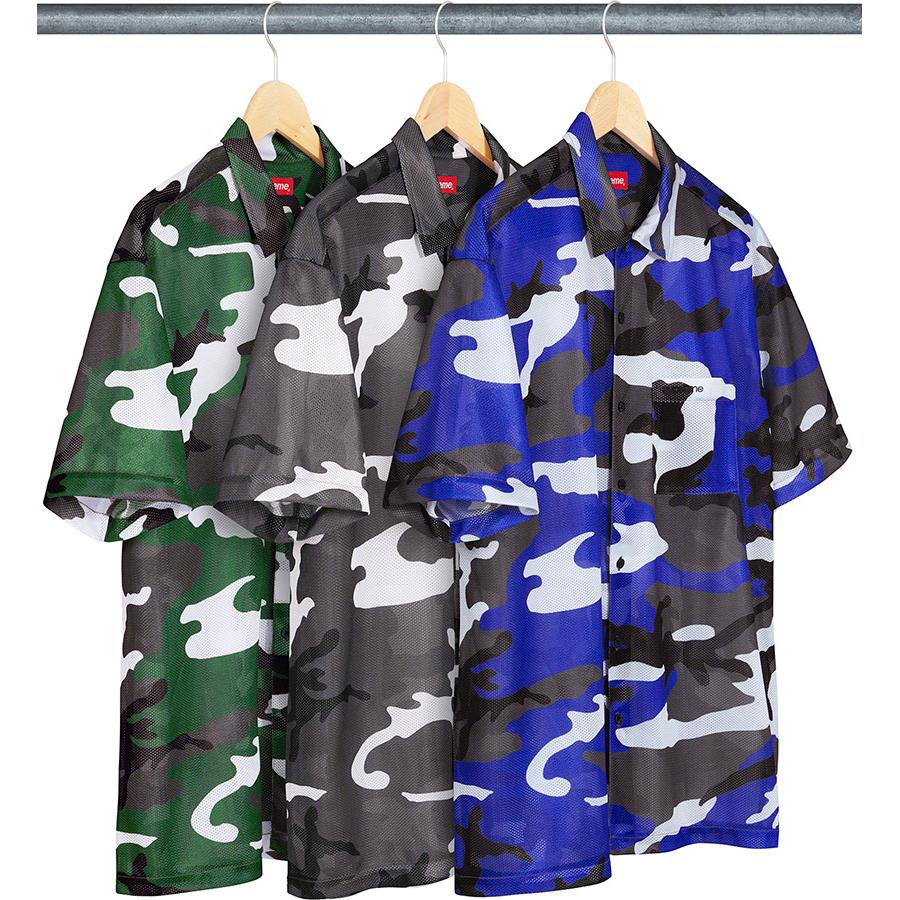 Camo Mesh S/S Shirt - Poly mesh with printed pattern and embroidered logo on single chest pocket.