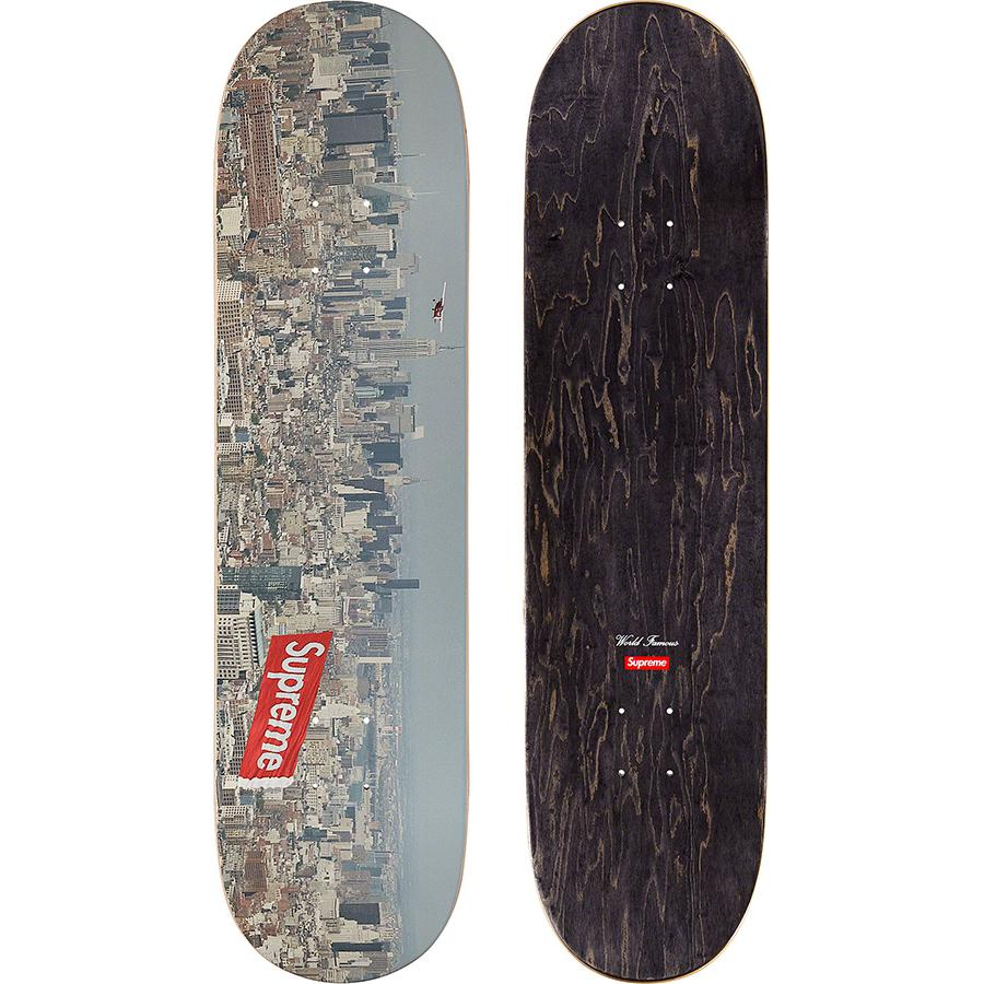 Aerial Skateboard - Supreme skate deck with natural veneer and black top ply. Printed graphic on bottom with printed World Famous and box logo on top.