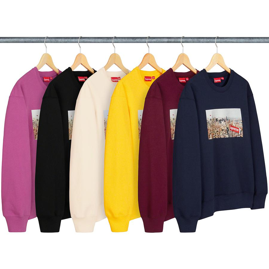 Aerial Crewneck - Heavyweight cotton crossgrain fleece with printed graphic on chest and printed logo on back neck.