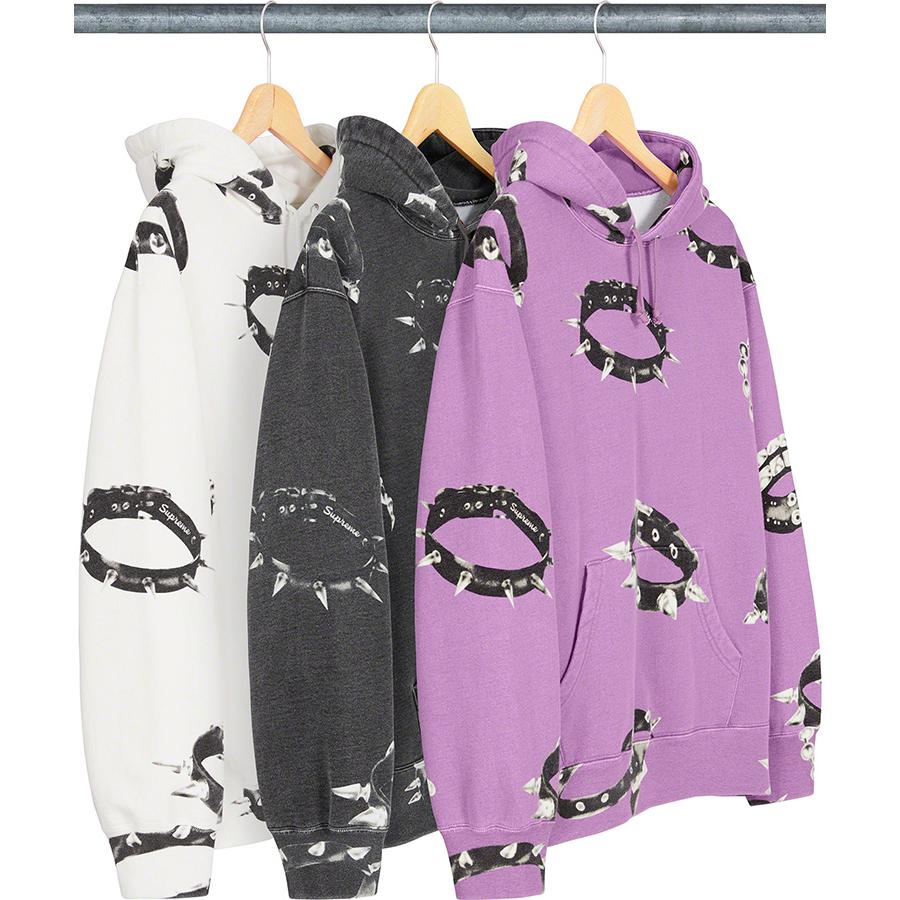 Studded Collars Hooded Sweatshirt - Cotton fleece with pouch pocket and printed pattern.