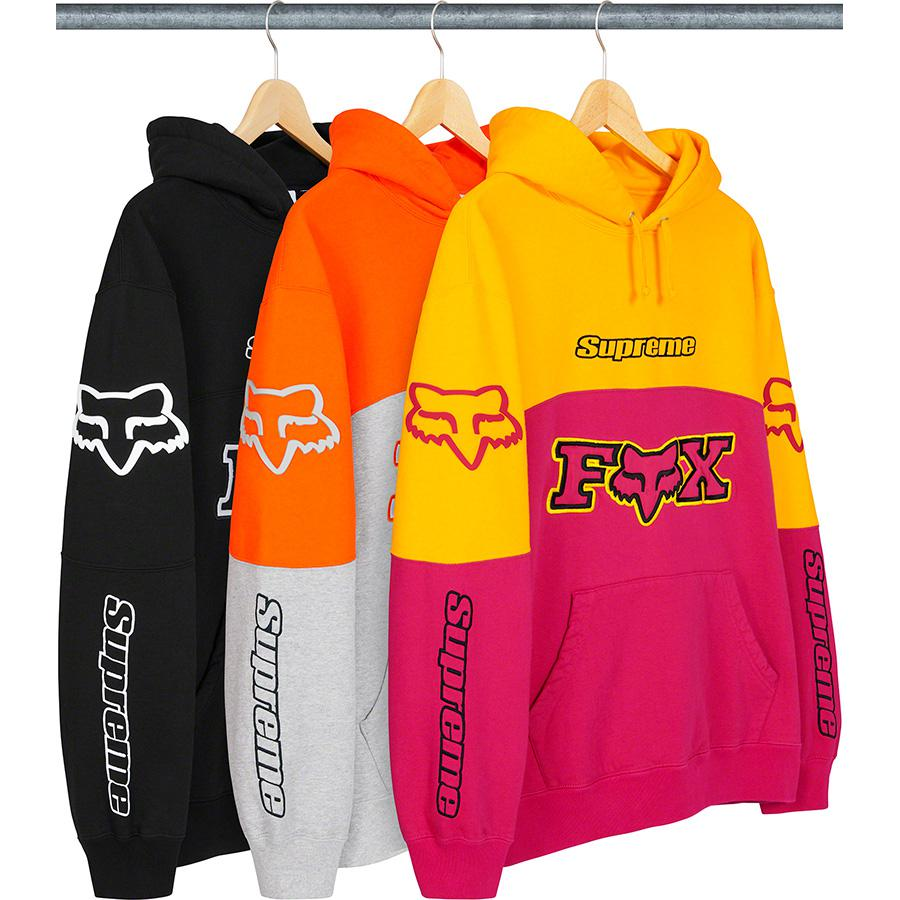 Supreme®/Fox® Racing Hooded Sweatshirt - Cotton fleece with pouch pocket. Embroidered logos on chest and sleeves with tackle twill appliqué and embroidered logo at lower front. Raised silicone logo appliqué at shoulders.